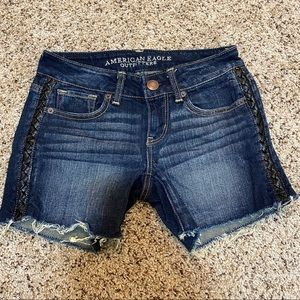 American Eagle Denim Leather Detail Shorts